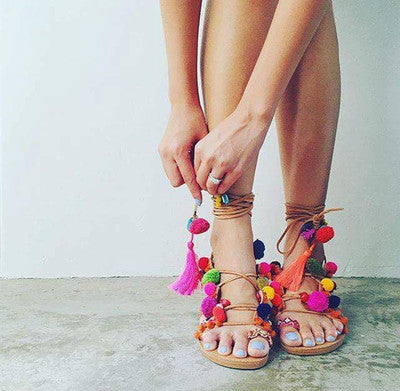 Suede Pom Pom Lace up Gladiator Sandals