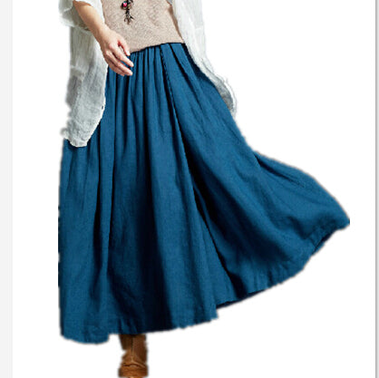 Cotton Linen Pleated Skirt
