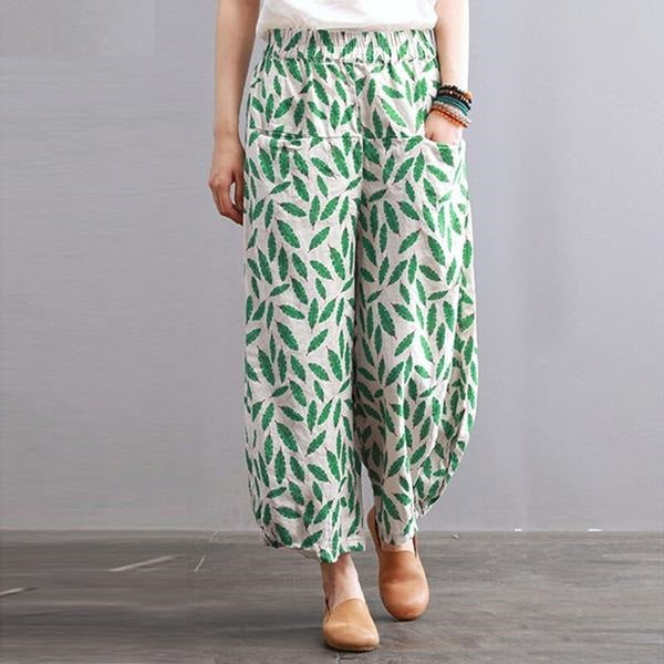 Leaf Print Wide Leg Cotton Linen Capri Pants