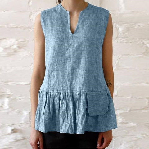 Sleeveless Ruffle Hem Tank Shirt