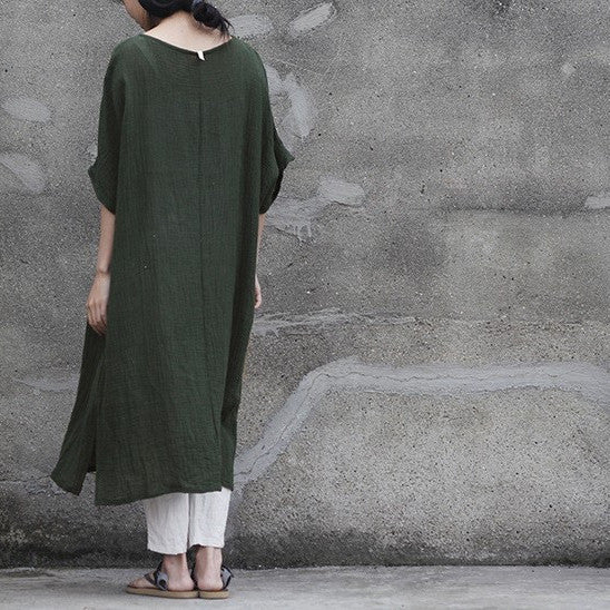 Forest Button Front Linen Shirtdress