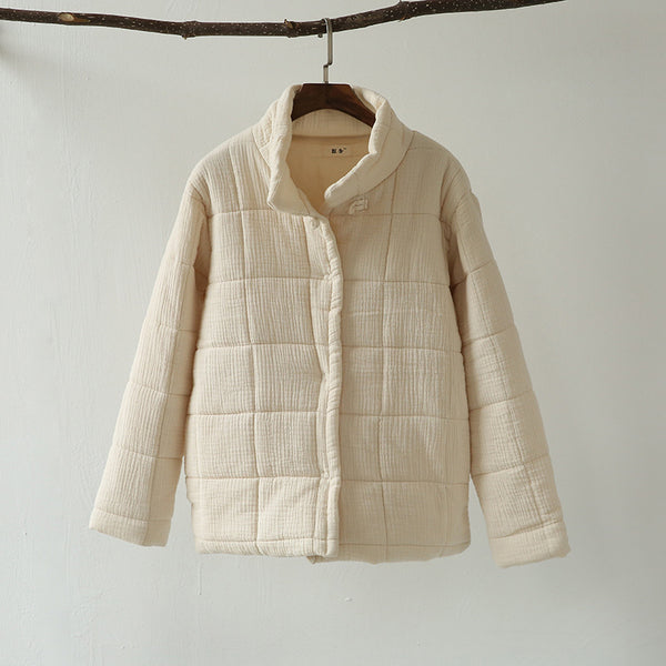 Cotton Button Front Quilted Jacket