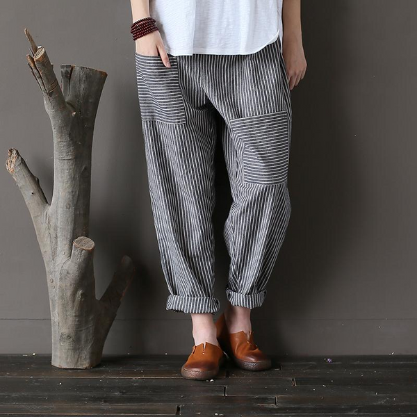 Striped Cotton Front Pocket Pants