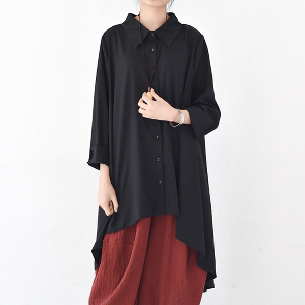 Asymmetric Hem Button Front Tunic