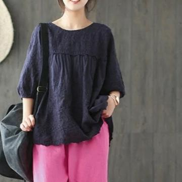Floral Embroidered Lantern Sleeve Cotton Shirt