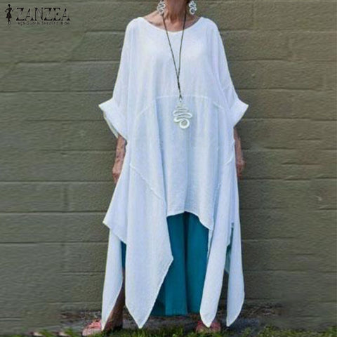 Wing Sleeve Swallow Tail Cotton Tunic