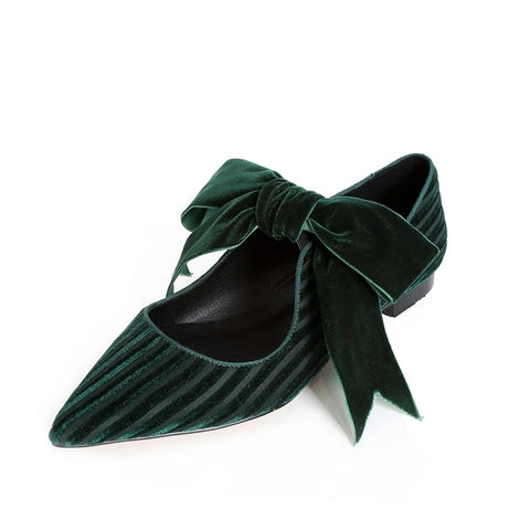 Butterfly-Knot Flat Velvet Pointed Toe Shoes