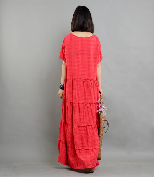 Cotton linen Plaid Dress