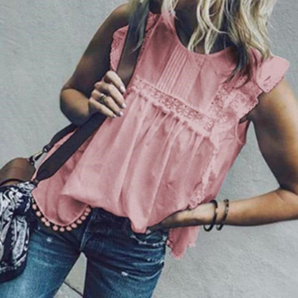 Lace Butterfly Sleeve Tassel Shirt