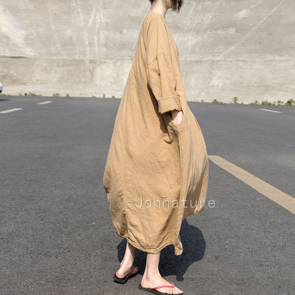 Cotton Linen Long Dresses