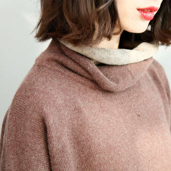Wing Sleeve Double Layer Pullovers Turtleneck Sweater