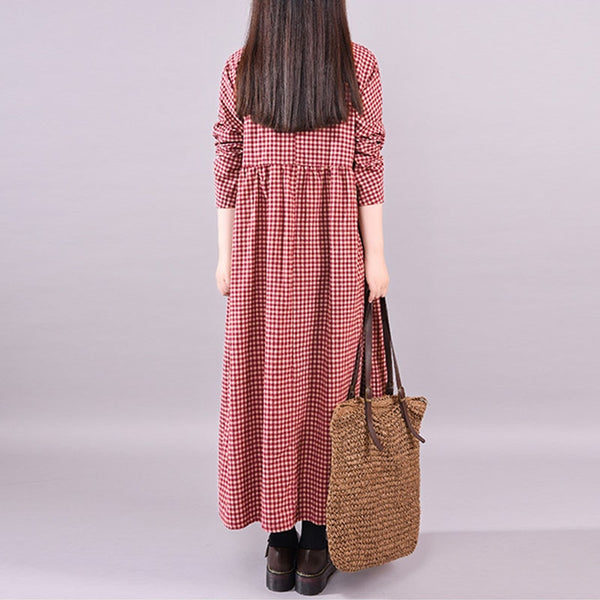 Long Sleeve Plaid Full Length Dress