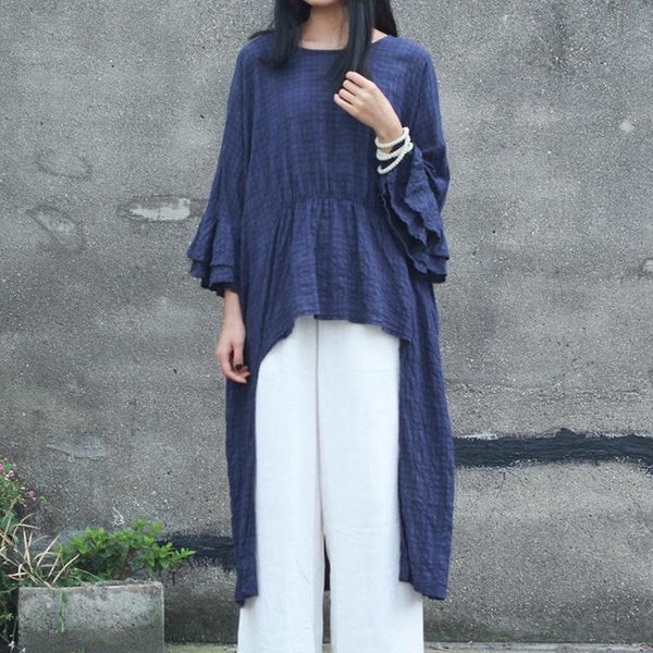 Cotton Linen Flare Sleeve Peplum Tail Shirt