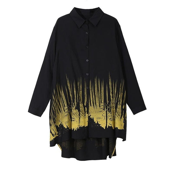 Turn-down Collar Print Asymmetric Hem Shirt