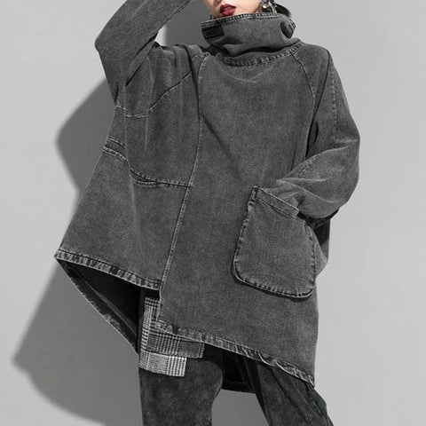 Loose Fit High Collar Denim Pullover Sweatshirt