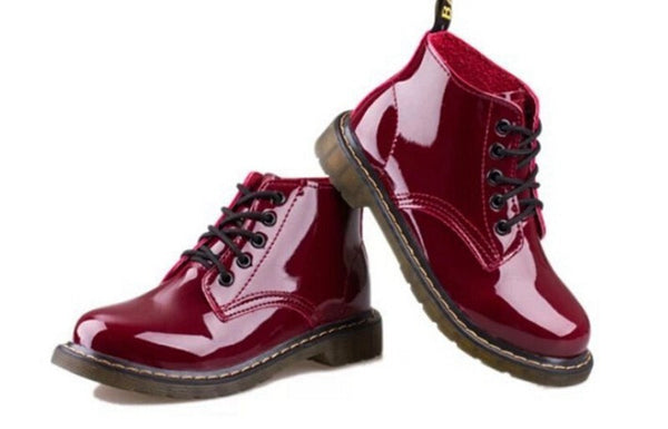 Patent Leather Lace Up Ankle Boots
