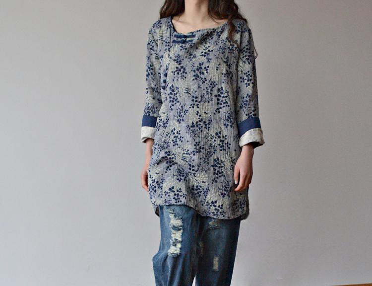 Cotton Linen Floral Print Shirt