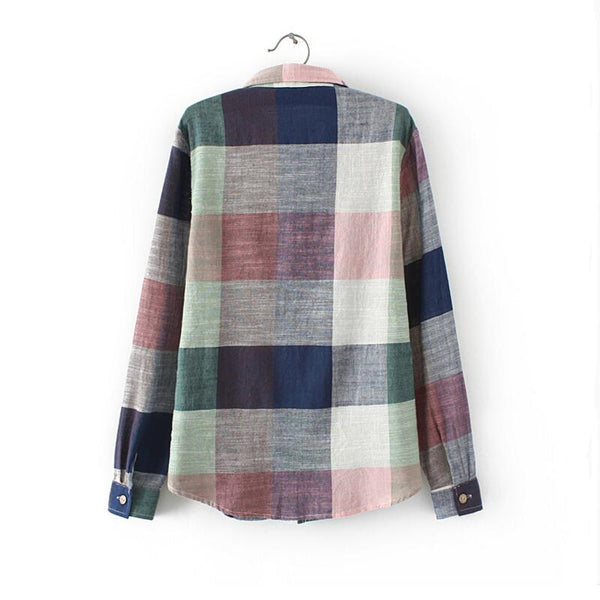 Plaid Linen Cotton Button Front Shirt