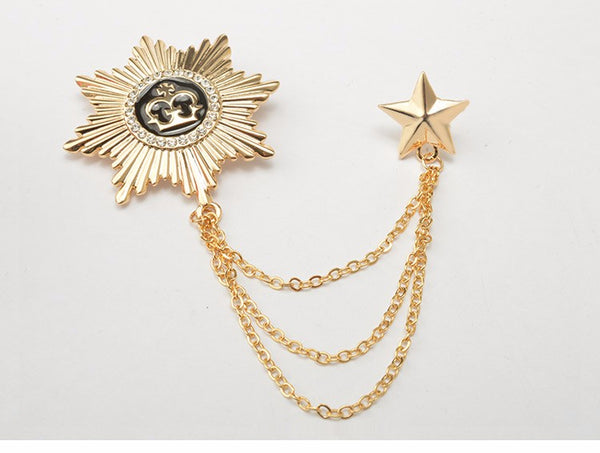 Gold Crown Star Broach Lapel Pin