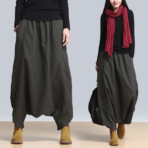 Drop Rise Cotton Linen Harem Pants