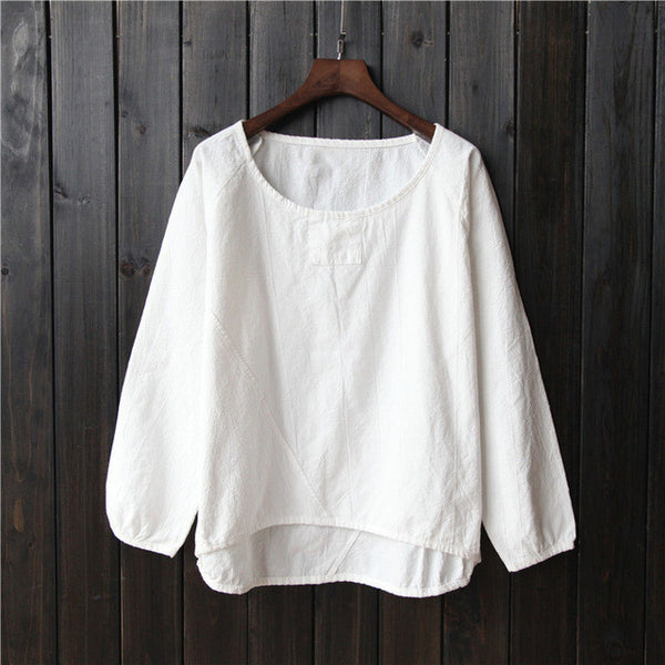 Cotton Gathered Hem Shirt