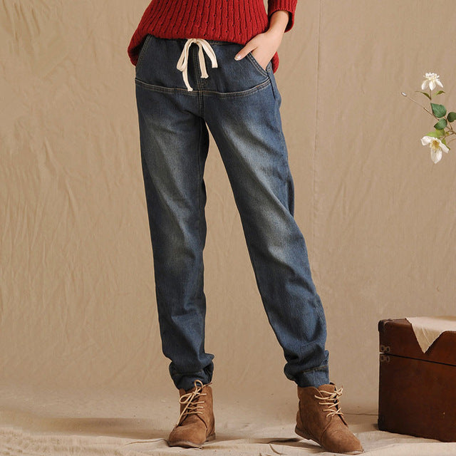 Drawstring Waist Fur Lined Leggins Straight Leg Denim Jeans