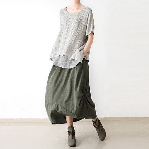 Cotton Linen Bud Skirt