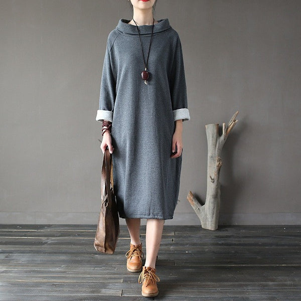 Roll Neck Terry Dress