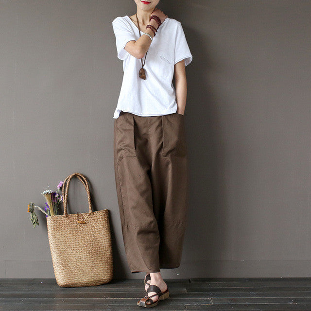 Wide Leg Cropped Cotton Linen Capri Pants