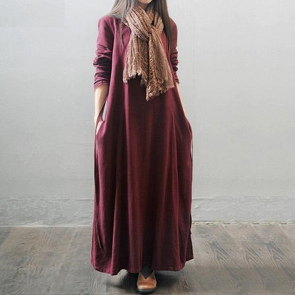 Frayed Collar Full Length Dress