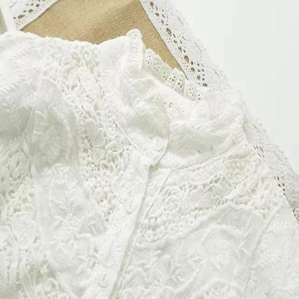 Leaf Embroidered Lace Trim Tunic