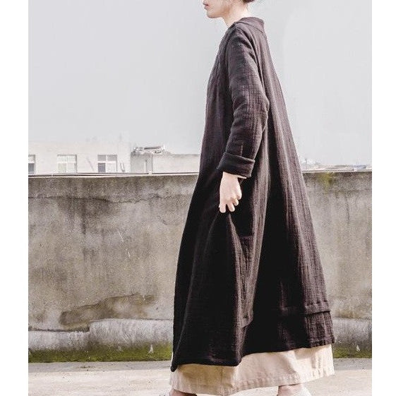 Hand Embroidered Double Layer Linen Trench