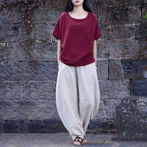 Autumn Cotton Linen Harem Pants