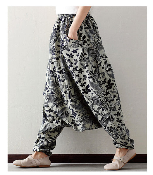 Cotton Linen Lantern Harem Pants