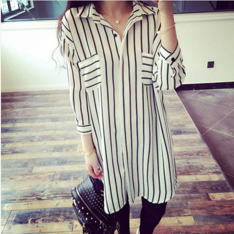 3/4 Sleeve Button Front Striped Tunic