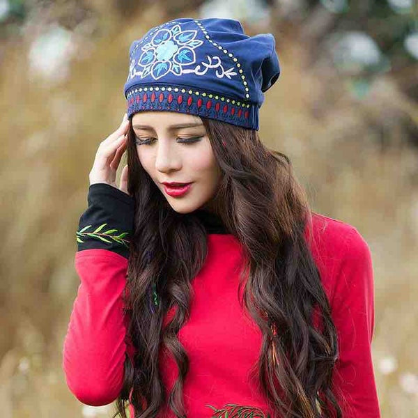 Floral Embroidered Beanie
