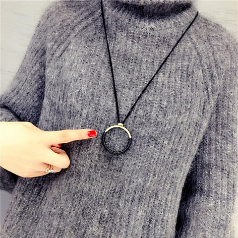 Big Circle Long Pendant Necklace