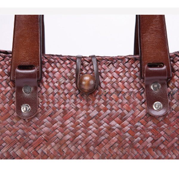Hand-Woven Wooden Handle Straw Bag