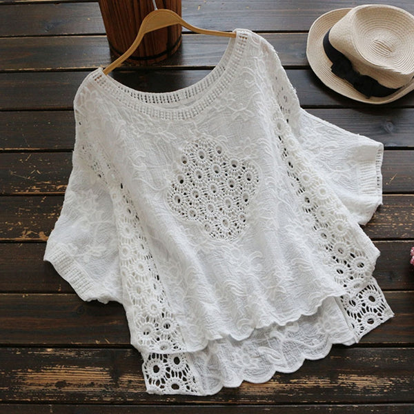 Asymmetric Hem Lace Embroidered Wing Sleeve Shirt