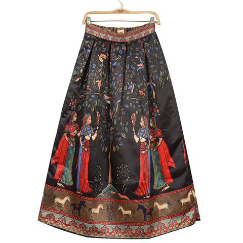 Floral Print Full Length Pleated Satin  Skirt