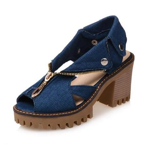 Treaded Denim Platform Sandals