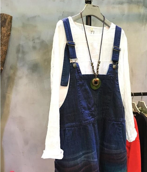 Distressed Denim Bib Overalls