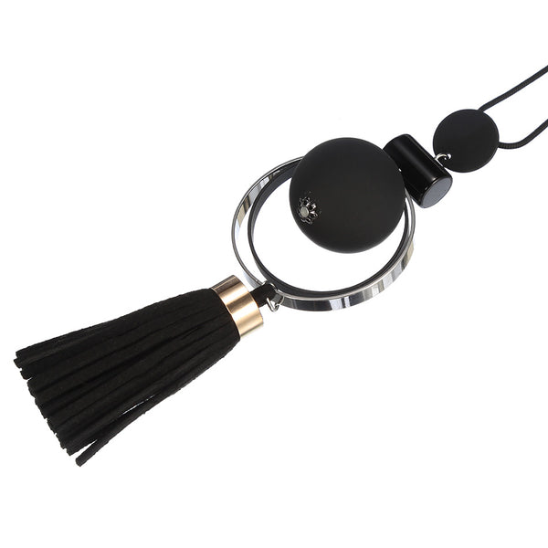 Wood Beads Tassel Statement Necklace