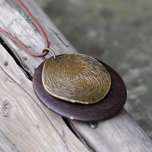 Long Wooden Pendant Necklace
