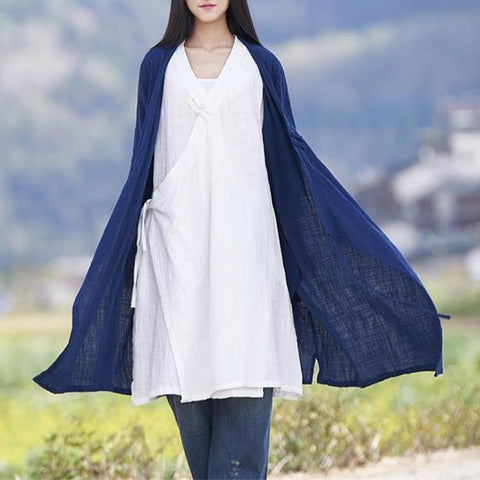 Autumn Cotton Linen Side Lace Cardigan
