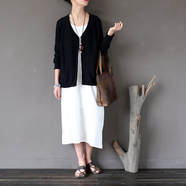 Autumn Roll Hem Button Front Cotton Cardigans Sweater