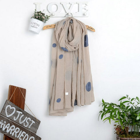 Cotton Voile  Embroidered Dot Shawl Scarf
