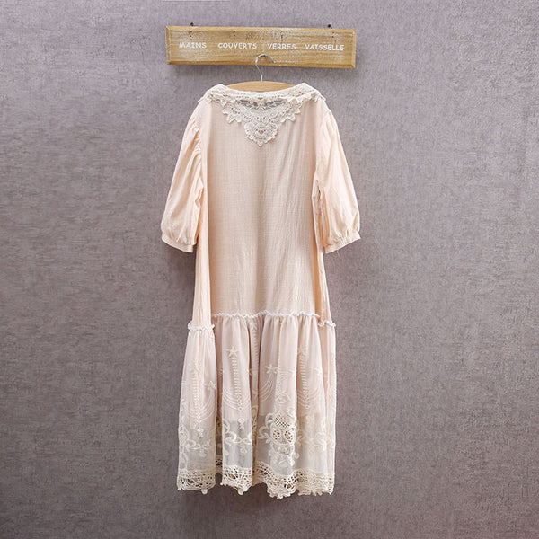 Cotton Linen Crochet Embroidered Lace Dress