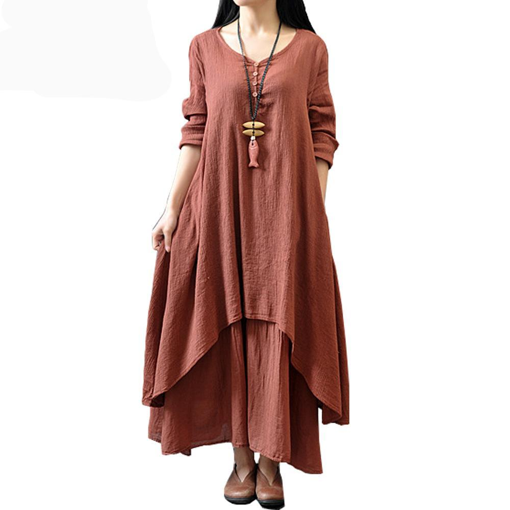 Full Length Faux Two-piece Long Sleeve Dress