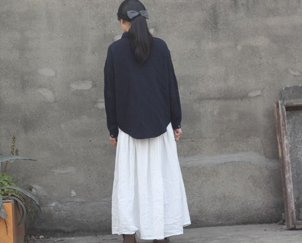 Full Length Pleated Cotton Autumn Skirt